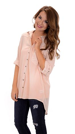 8604e7a306c Crinkle Button Down Tunic, Blush :: Tops :: The Blue Door Boutique