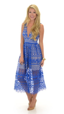 e28bc930779c Blue Lace Midi Dress    SALE    The Blue Door Boutique