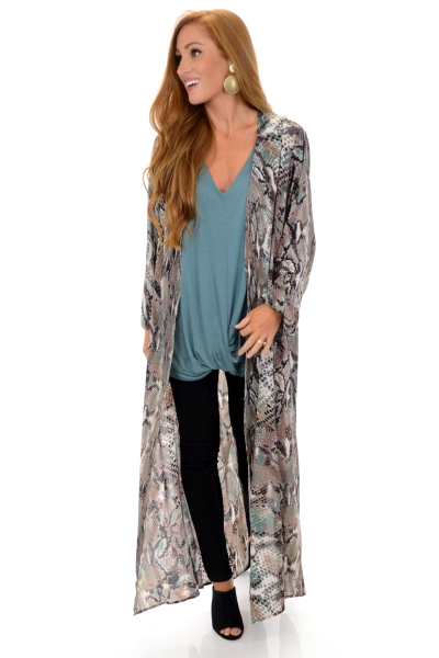 a4b5216b636 BUDDY LOVE Pink Snake Duster    SALE    The Blue Door Boutique