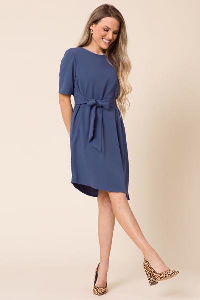 159d72168e424 Juliet Tie Front Dress, Blue :: Dresses :: The Blue Door Boutique