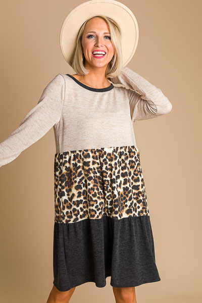 Contrast Tiered Cheetah Dress