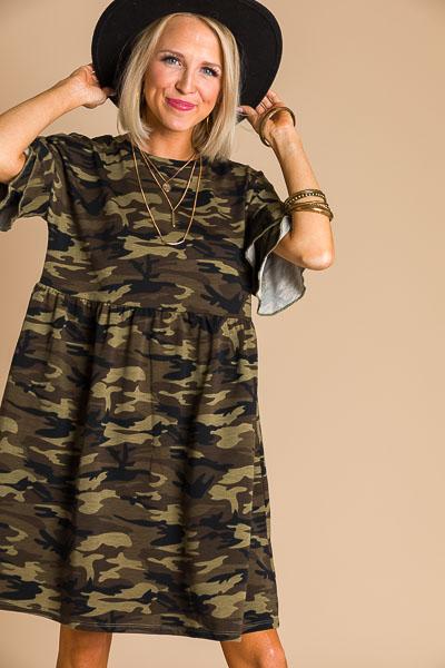 Camo Ruffle T-Shirt Dress