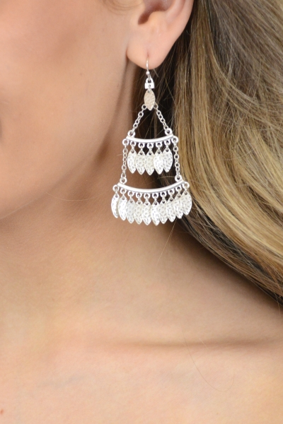 Feather Fringe Earring, Silver
