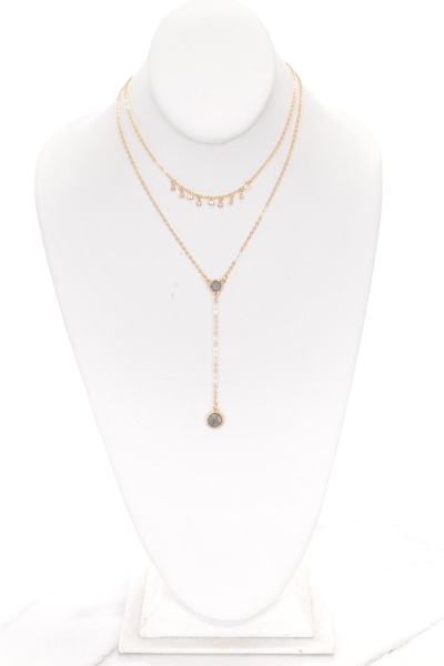 Dainty Circle Y Necklace, Hem