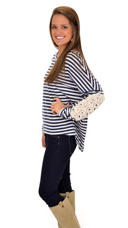 Swirls and Stripes Top, Navy