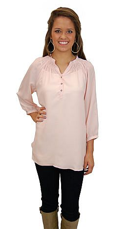 Here To Stay-ple Blouse, Blush