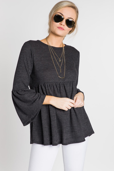 Bethany Thermal Tunic, Black