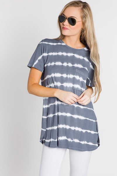 Rae Jersey Top, Gray Tie Dye