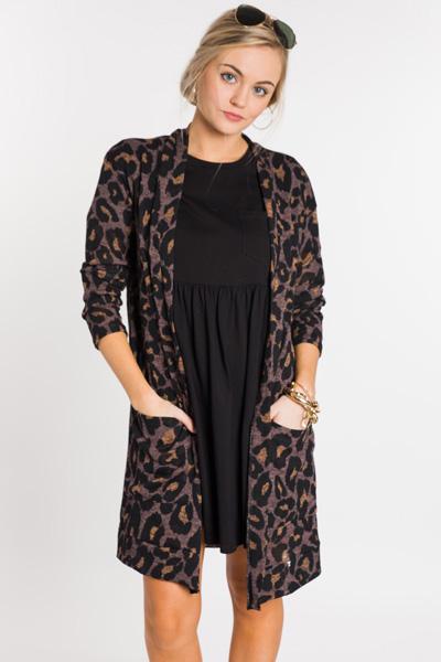 Spotty Leopard Cardi, Mocha