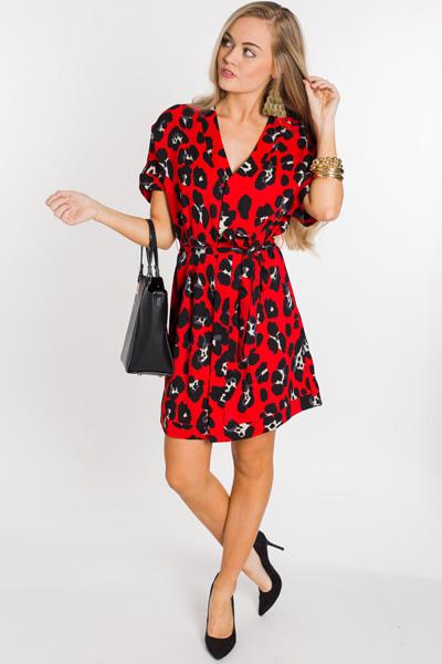 Belted Red Leopard Dress