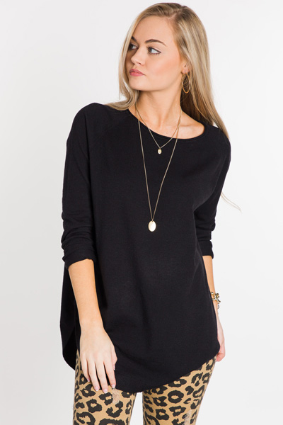 Scooped Bottom Sweater, Black