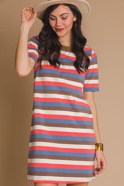 Striped Knit Dress, Multi