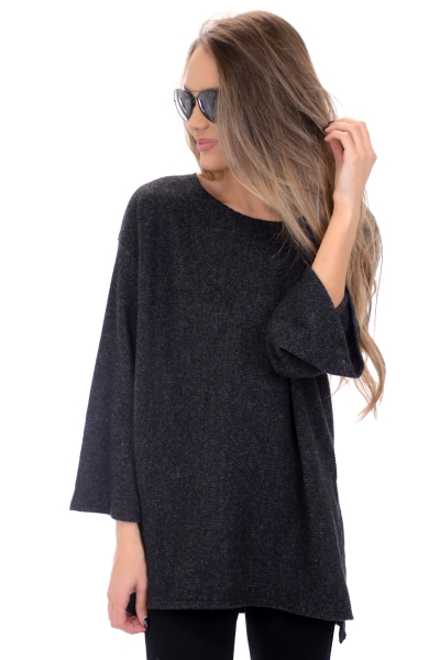 Demi Ribbed Sweater, Charcoal