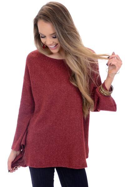 Demi Ribbed Sweater, Burgundy