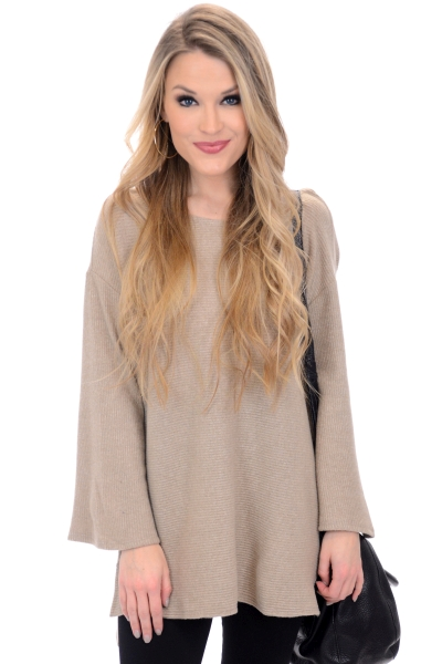 Demi Ribbed Sweater, Camel