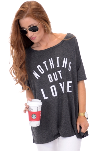 Nothing but Love Tee, Charcoal