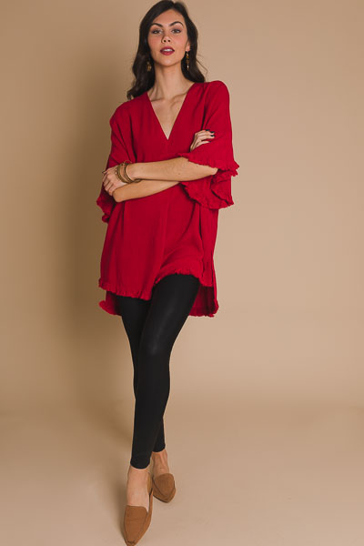 Frayed Hi Lo Tunic, Red