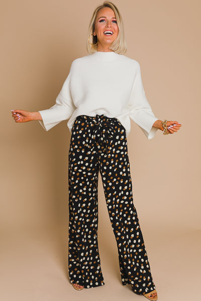 Spotted Wide Leg Pant, Black