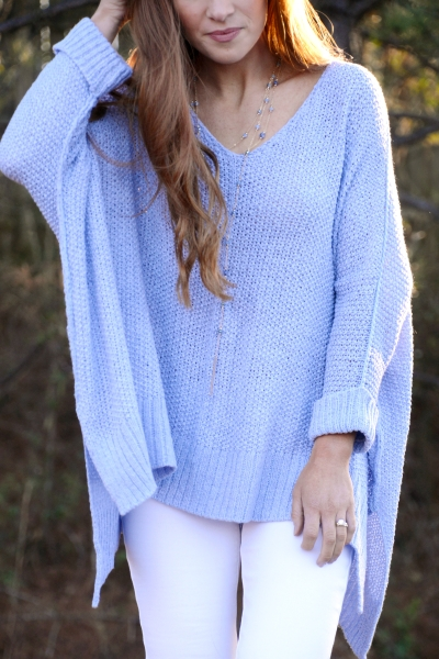 Folded Cuffs Sweater, Ice Blue