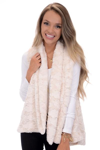Foxy Fur Vest, Cream