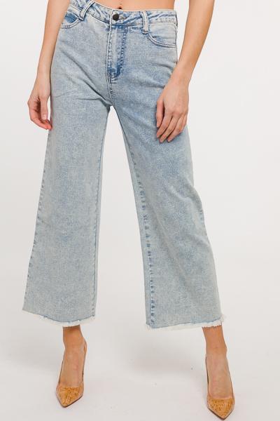 Edgy Wide Leg Jeans, Light