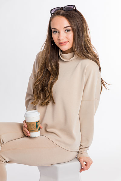 Cropped Soft Turtleneck, Taupe