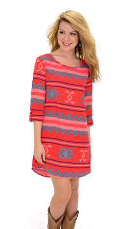 Tribe Me Crazy Dress Red
