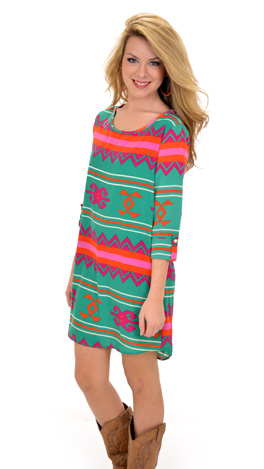 Tribe Me Crazy Dress, Green