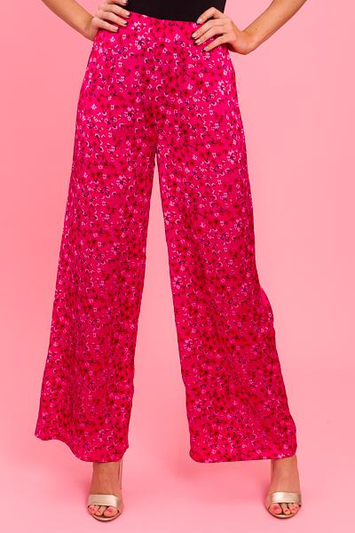 Satin Floral Pants, Magenta