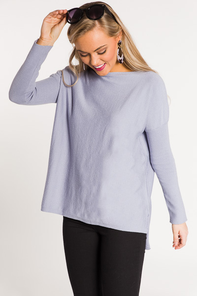 Solid Boatneck Sweater, Blue Grey