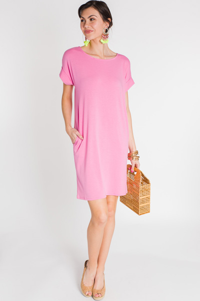 Rolled Sleeve T Shirt Dress, Pink