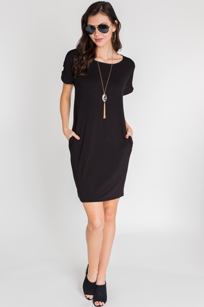 Rolled Sleeve T Shirt Dress, Black