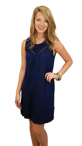 Pintuck Knit Dress, Navy
