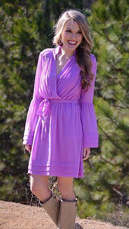 Ring My Bellsleeve Dress, Lavender