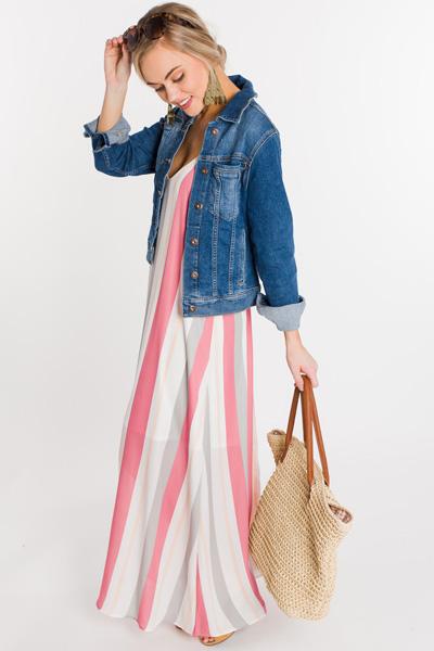 Gemini Striped Maxi, Pink