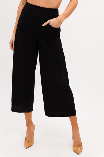 Linen Pocket Pants, Black