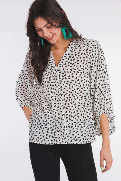 Speckled Chiffon Blouse, Ivory