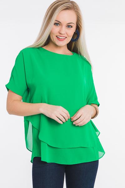 Roxy Boxy Chiffon Blouse, Green