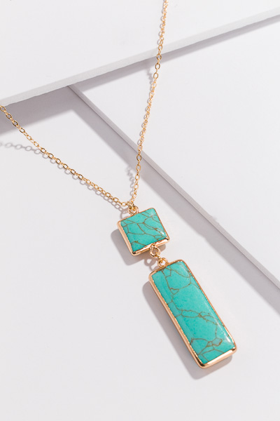 Rectangle Marble Necklace, Turq