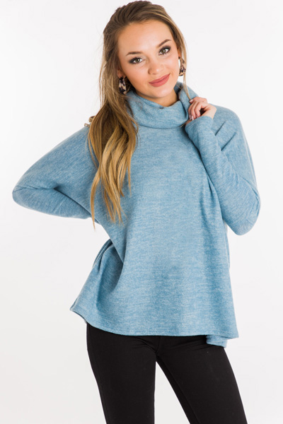 Ready to Relax Turtleneck, Blue