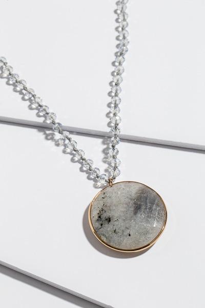 Mod Beaded Necklace, Grey