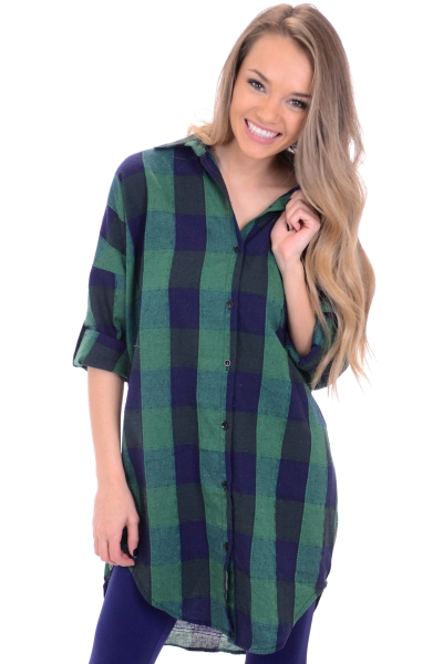 Green Checks Boyfriend Tunic