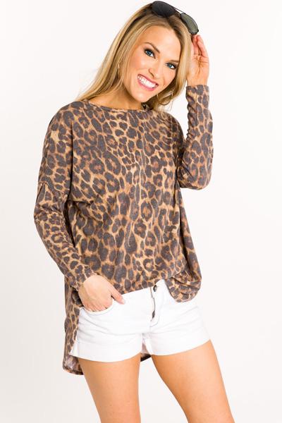 Scoop Hem Leopard Tunic
