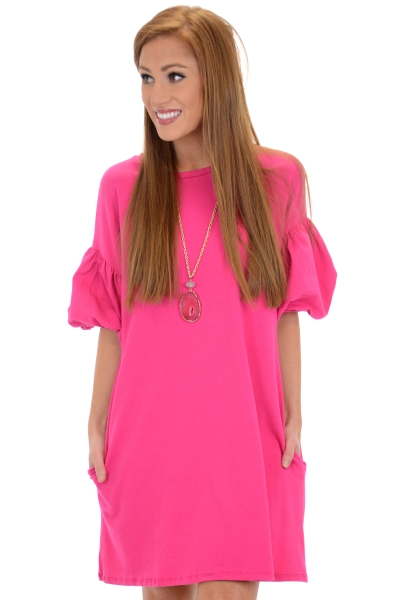 Bubble Sleeve Knit Frock, Fuchsia