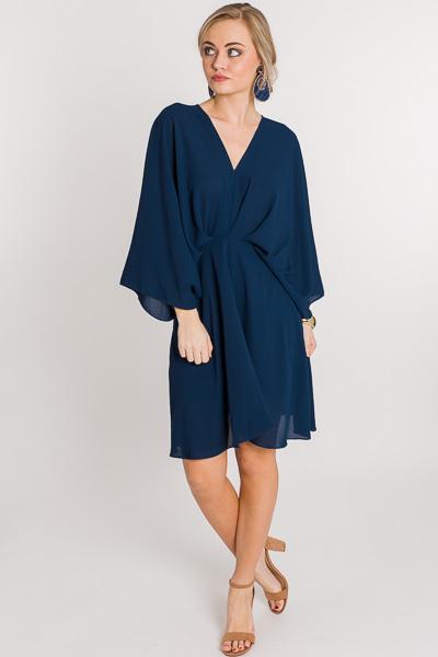 Pleated Kimono Dress, Navy