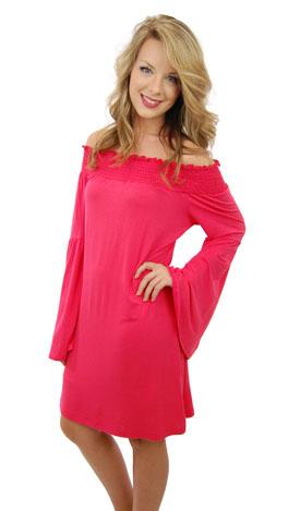 Bell Sleeve Beauty Dress, Red