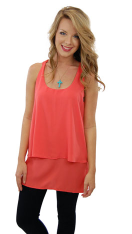 Young and Free Top, Coral
