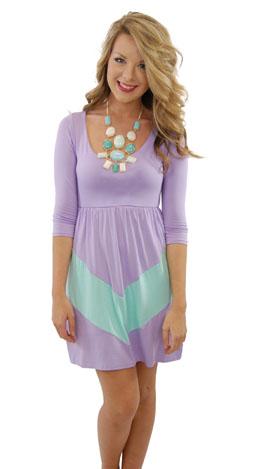 Chevron Stripe Dress, Violet