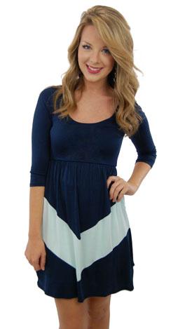 Chevron Stripe Dress, Navy
