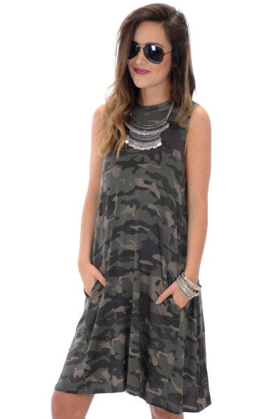 Alyssa Swing Dress, Camo